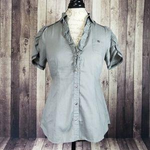 Edme & Esyllte gray ruffled button down blouse